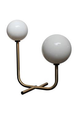 Golden art-deco table lamp, two white spheres. Concept Verre.