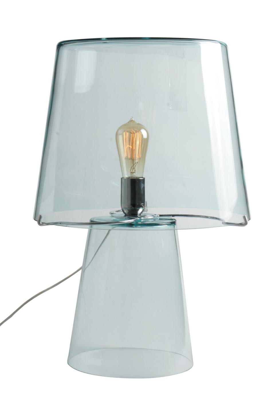cylinder and lamp transparent cone table Glass foot shade Qdshtr