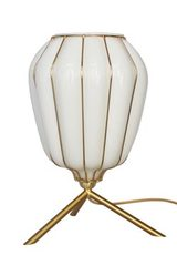 Selene lantern table lamp white opal glass and brushed brass. Concept Verre.