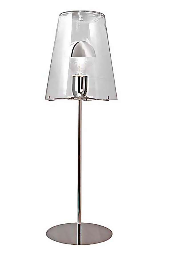 Table Lamp With Conical Clear Glass Lampshade