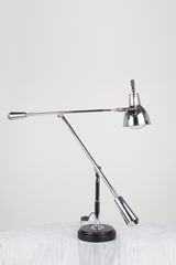 Large EB27 desk lamp chrome and wood base. Contract&More.