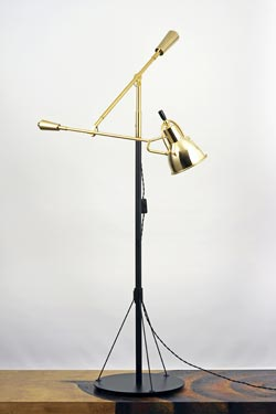 Floor lamp by E.Buquet polished gold metal. Contract&More.