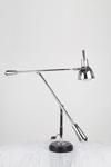 Grande lampe de bureau EB27 chrome et socle bois . Contract&More.