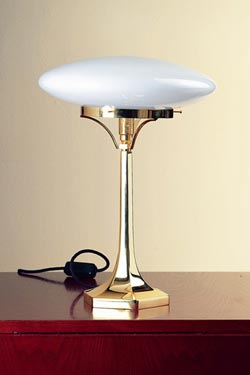 Lampe de table, globe aplati en verre soufflé opale blanc