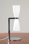 Double reflector table lamp in white opal glass. Contract&More.
