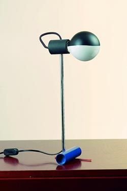 Retro blue, red and chrome table lamp. Contract&More.