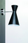 Black double metal cone wall light, direct and indirect lighting. Contract&More.