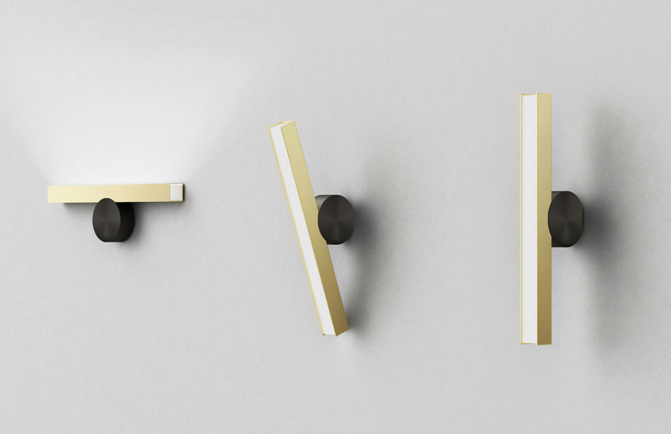 Applique calée horizontale design minimaliste bouton graphite et