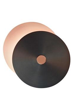 Applique Eclipse 2 disques cuivre satiné-graphite-cuivre poli petit modèle. CVL Luminaires.