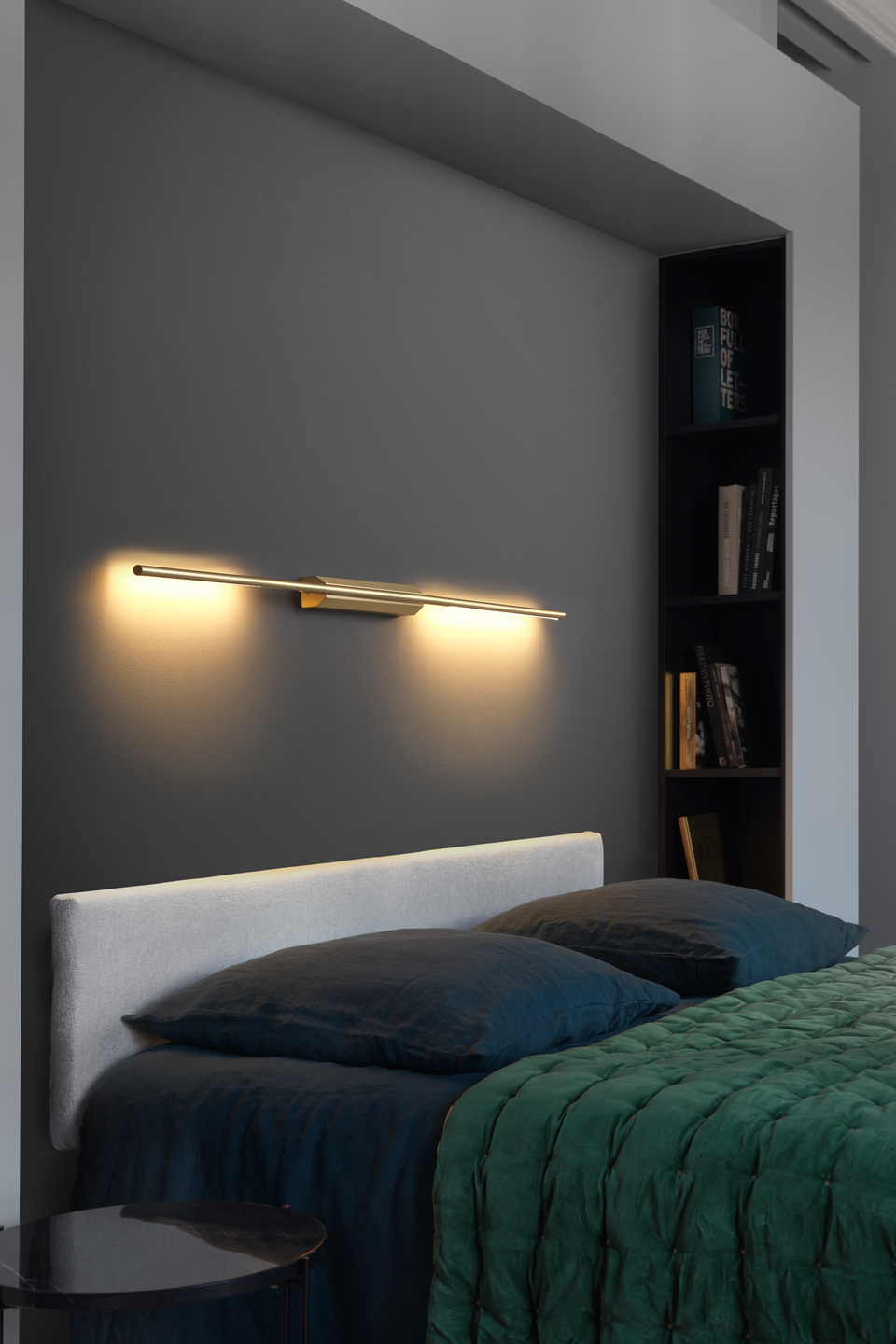 Link Double Reading Wall Lamp In Satin Brass 130cm Cvl Luminaires Contemporary Lighting Made In France Massive Brass Ref 18110011