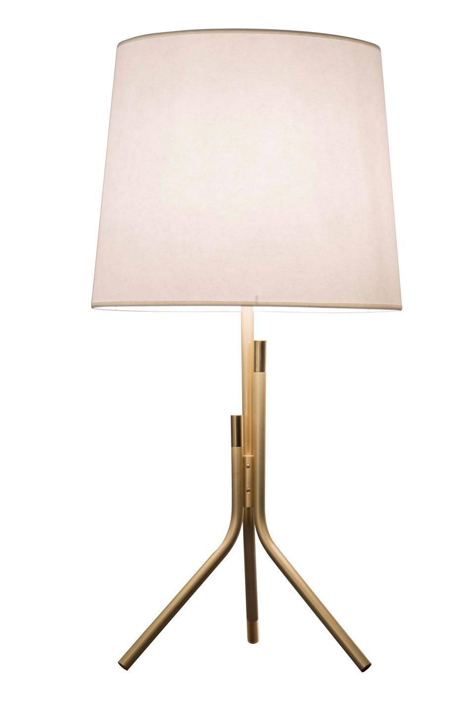 Ellis lampe de table design, dorée mat et brillant grand abat-jour blanc. .
