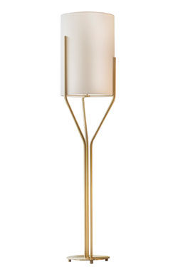 Arborescence floor lamp S, golden stems and lampshade in White Drop Paper . CVL Luminaires.