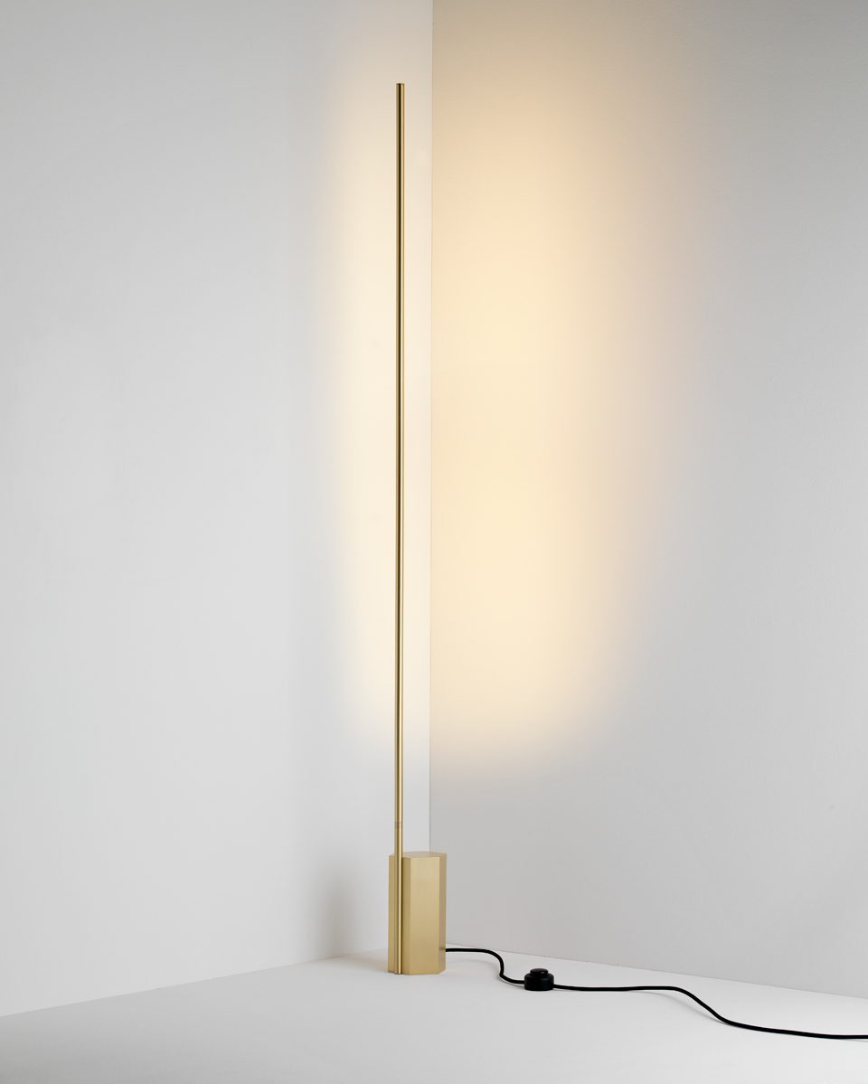 Floor Lamp In Satin Br Indirect Light Matching Wall