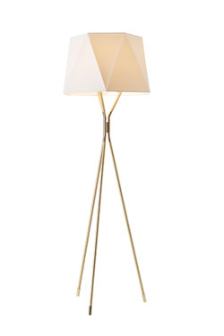 Floor lamp tripod in satined and polished brass small model Solitaire. CVL Luminaires.