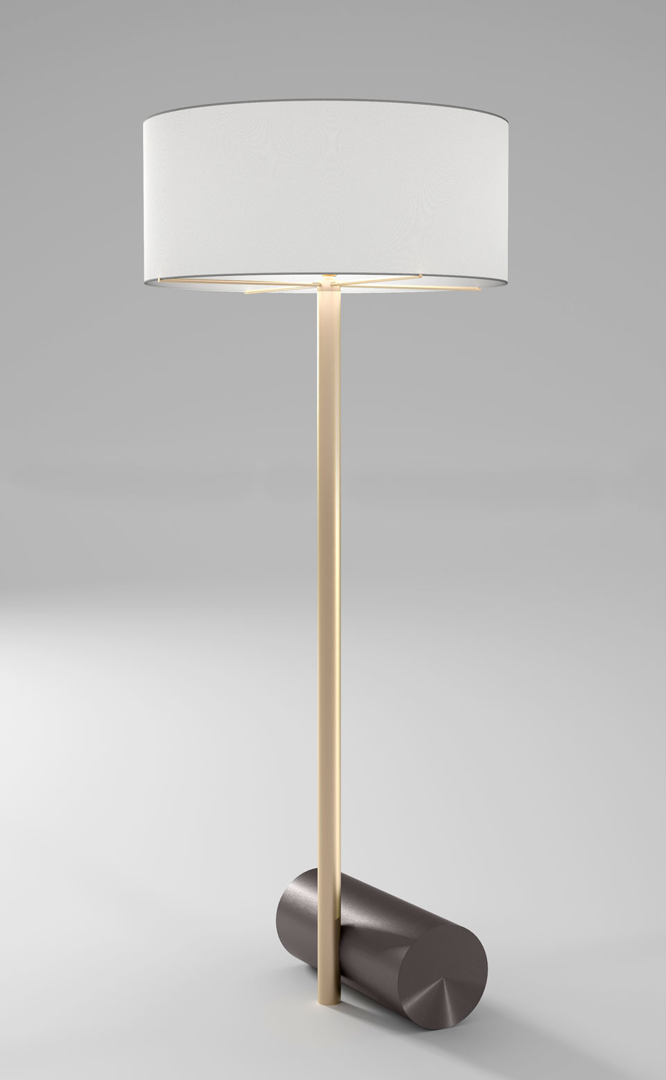 Grand lampadaire Calée XL, socle cylindrique, laiton satiné et graphite. CVL Luminaires.