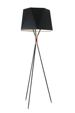 Grand lampadaire trépied en métal noir et cuivre Solitaire. CVL Luminaires.