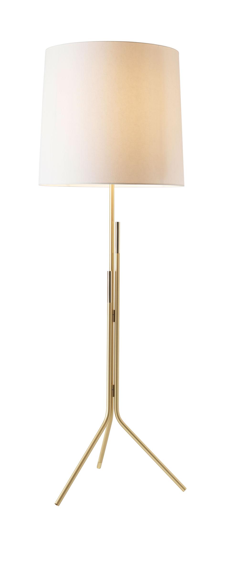 Lampadaire design, doré mat et brillant, Ellis. CVL Luminaires.