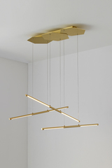 LINK triple pendant in satin brass, LED lighting. CVL Luminaires.