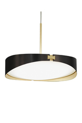 RING pendant in  brass satin and graphite  finish and white diffuser. CVL Luminaires.