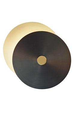 Petite applique design 2 disques, laiton satiné-graphite-laiton poli. CVL Luminaires.