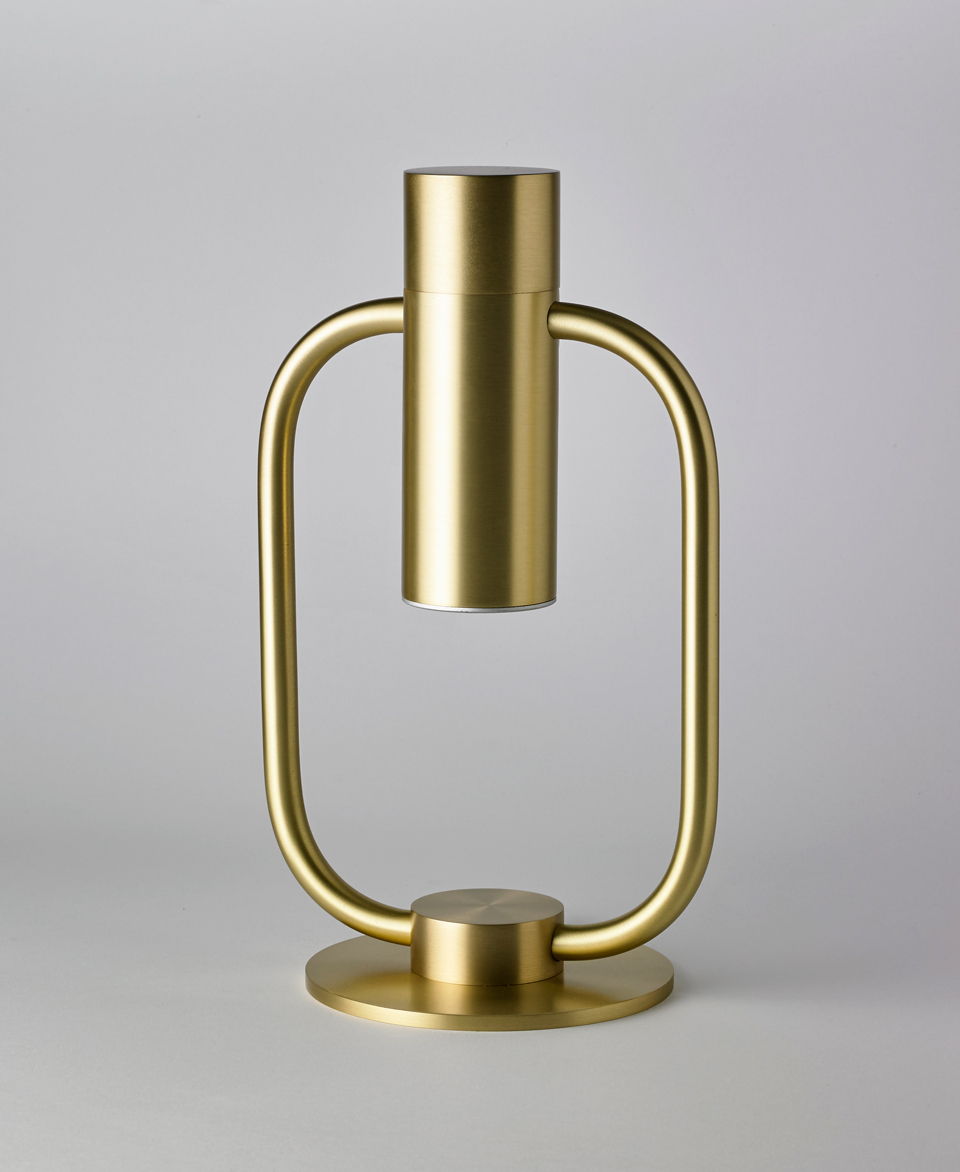 Table lamp, satin brass, intimate LED lighting