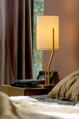Table Lamp, Satin Brass and Drop Paper Arborescence. CVL Luminaires.