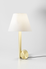 Small table lamp Calé (e) satin brass and white lampshade. CVL Luminaires.