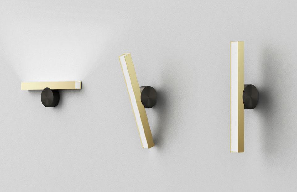 Cal 233 E Wall Lamp Vertical Minimalist Design Graphite