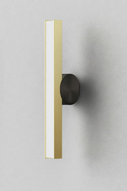 Calée wall lamp, vertical, minimalist design, graphite button and gold trim. CVL Luminaires.