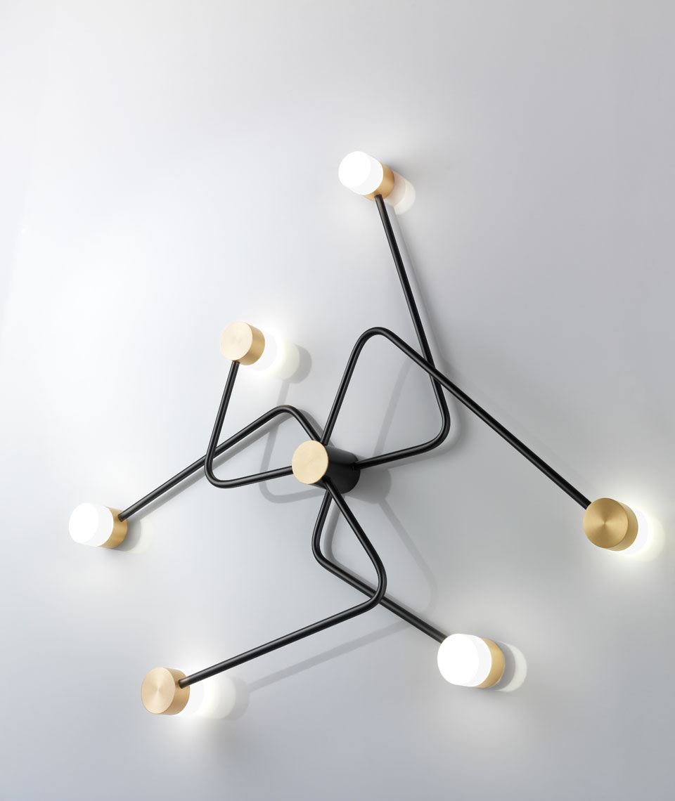 Constellation wall lamp, design, solid brass and blown glass, graphite and gold. CVL Luminaires.