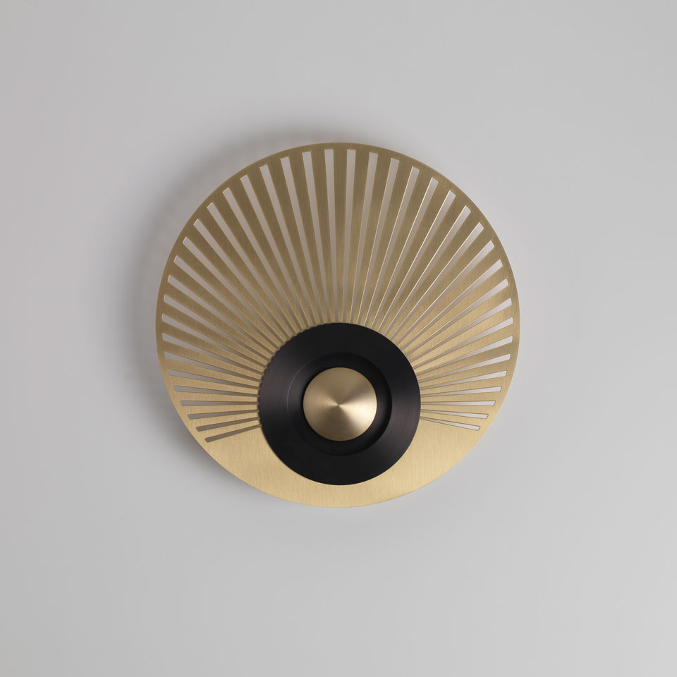 Earth-Radian wall light, disc, eccentric, satin brass and graphite. CVL Luminaires.