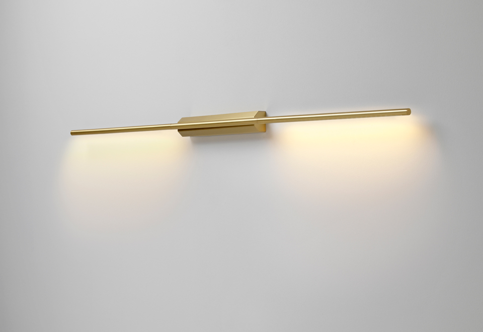 new style a9db4 3bb1d Design wall lamp in satin brass, picture light or bedside wall lamp,  available in 2 sizes