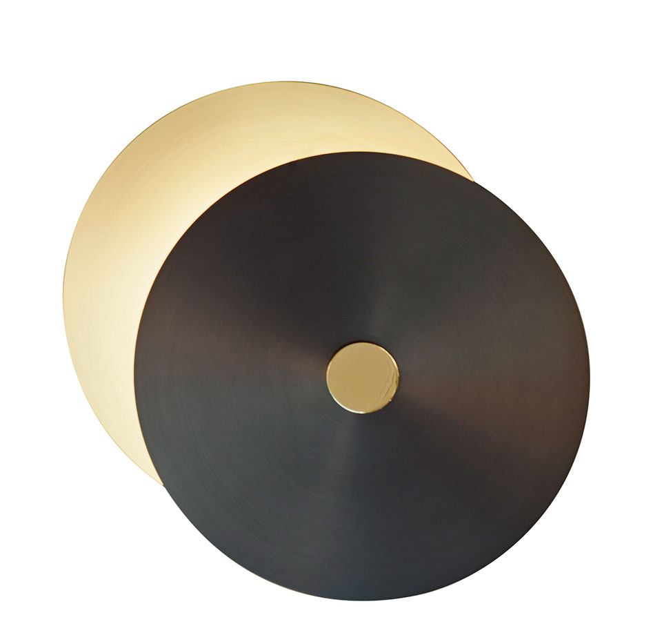 Small wall lamp 2 discs, satin brass-graphite-polished brass. CVL Luminaires.