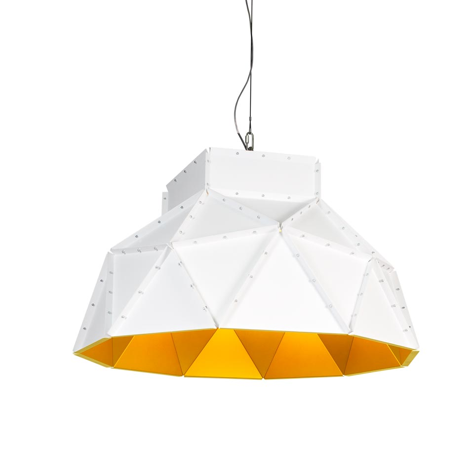 Apollo large white pendant light with gold interior. Dark.