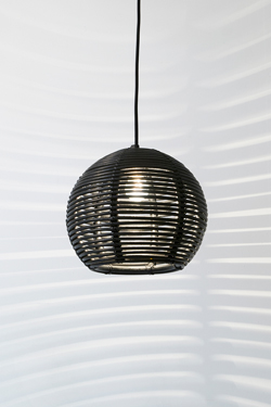 Black rattan ball pendant light 30cm. Dark.