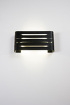Organ black, rectangular and openwork wall light. Dark.