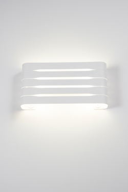 Organ white, rectangular and openwork wall light. Dark.
