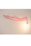 Zatel, applique minimaliste blanche et câble rouge. Dark.