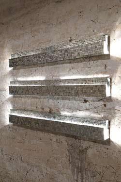 Ray luminaire 71 x 15 x 120 argent. Davide Medri.