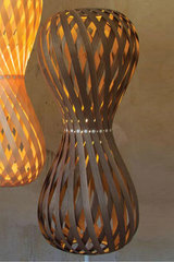 Swing floor lamp shaped hourglass rounded slats of walnut wood. Dreizehngrad 13°.