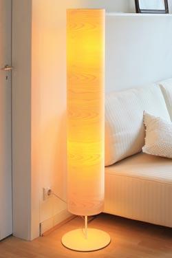 Funk lampadaire grand abat-jour en bois d'érable. Dreizehngrad 13°.