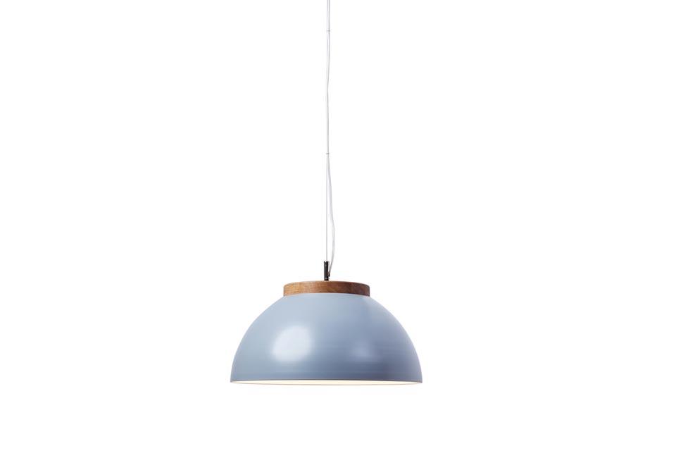 Suspension LED en aluminium gris mat et chêne massif . Dreizehngrad 13°.