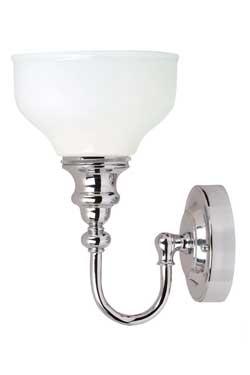 Applique chrome et verre pour salle de bain Cheadle . Elstead Lighting.