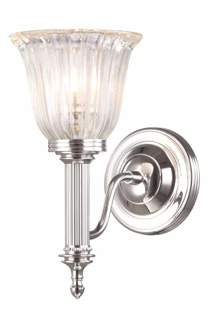 Applique murale salle de bain en flambeau de chrome et verre cannelé Carroll 1. Elstead Lighting.