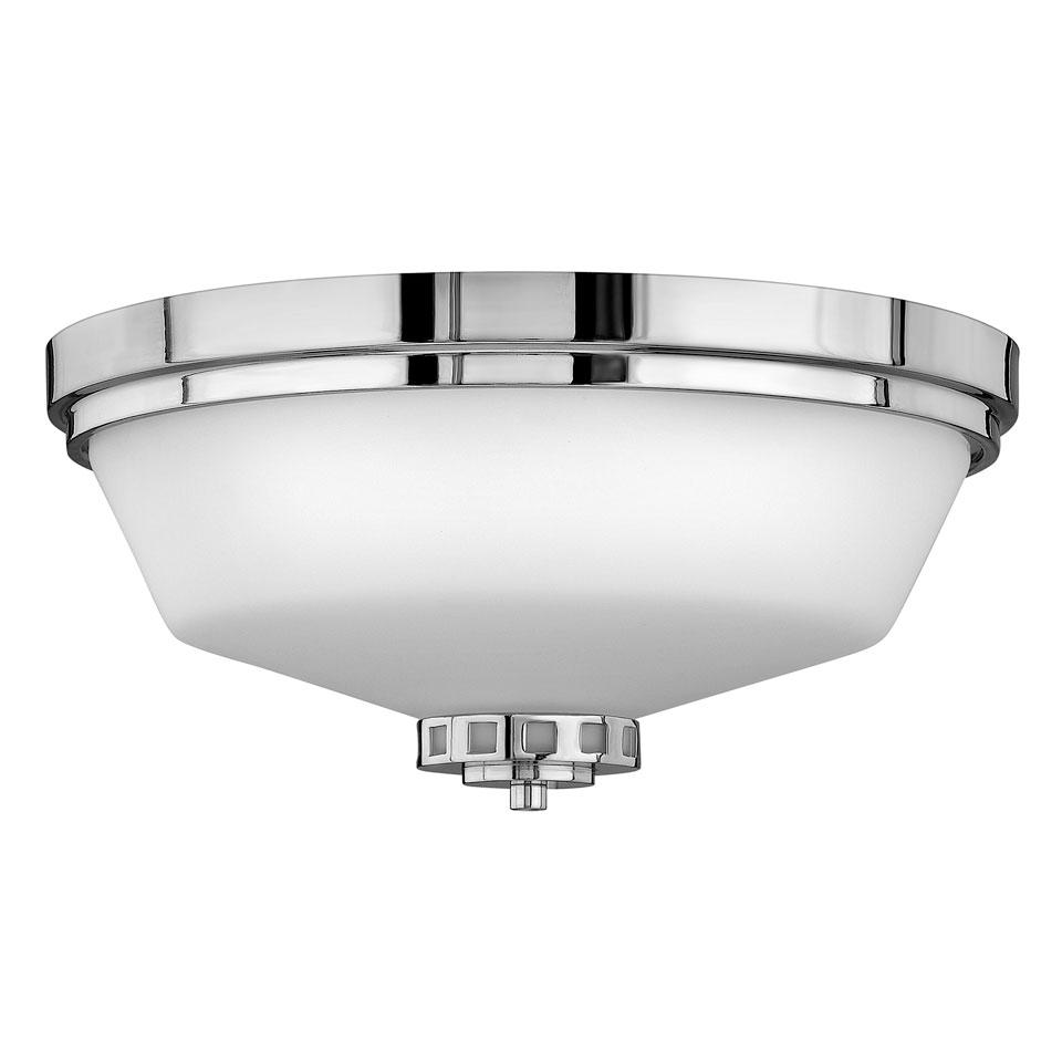 Plafonnier rond, verre blanc cerclé de métal, protection IP44