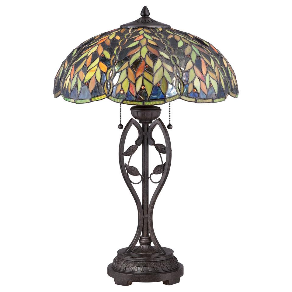 Lampe de table Tiffany bronze impérial Belle. Elstead Lighting.