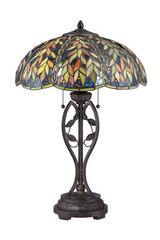 Lampe de table Tiffany bronze impérial Belle. Elstead Lighting.