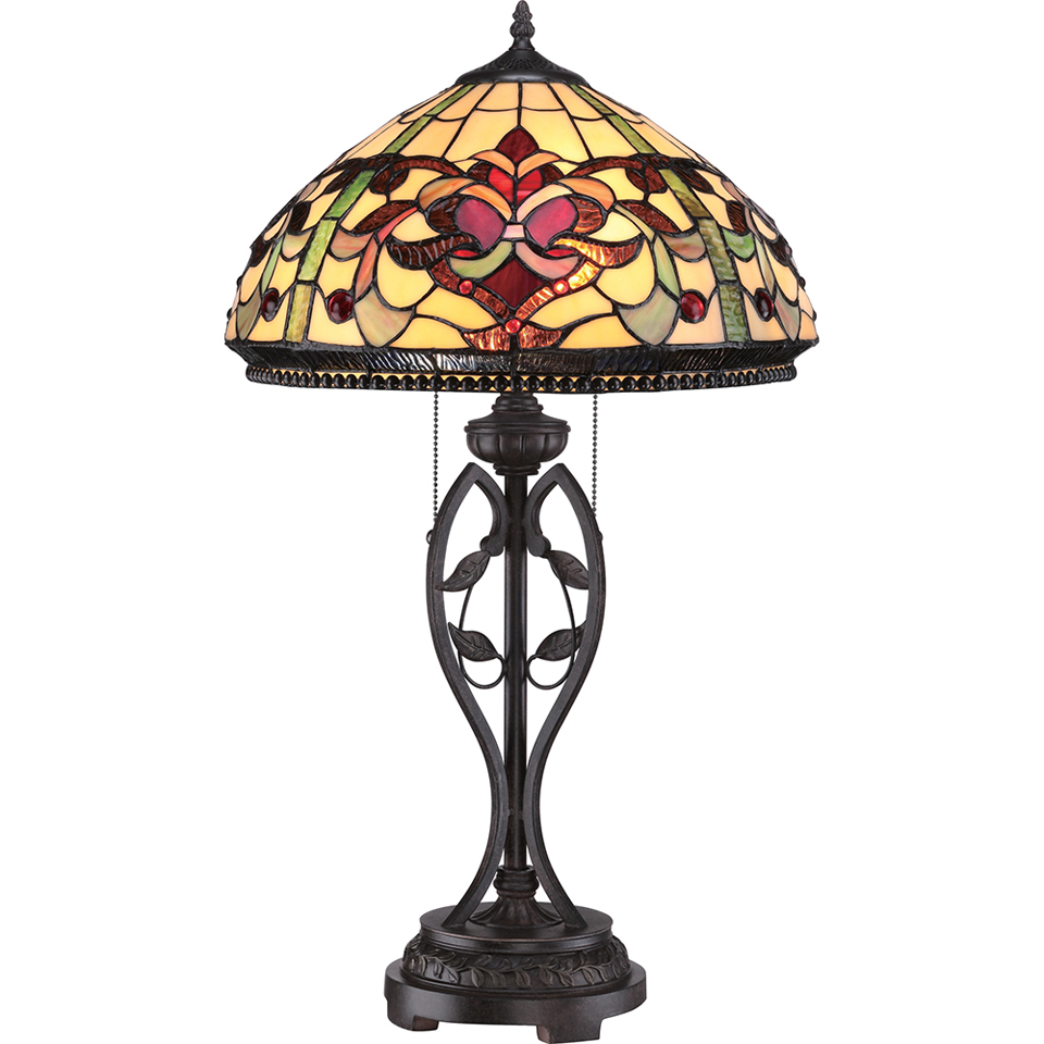 Lampe de table Tiffany en bronze impérial. Elstead Lighting.