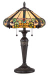 Lampe de table Tiffany feuillage. Elstead Lighting.
