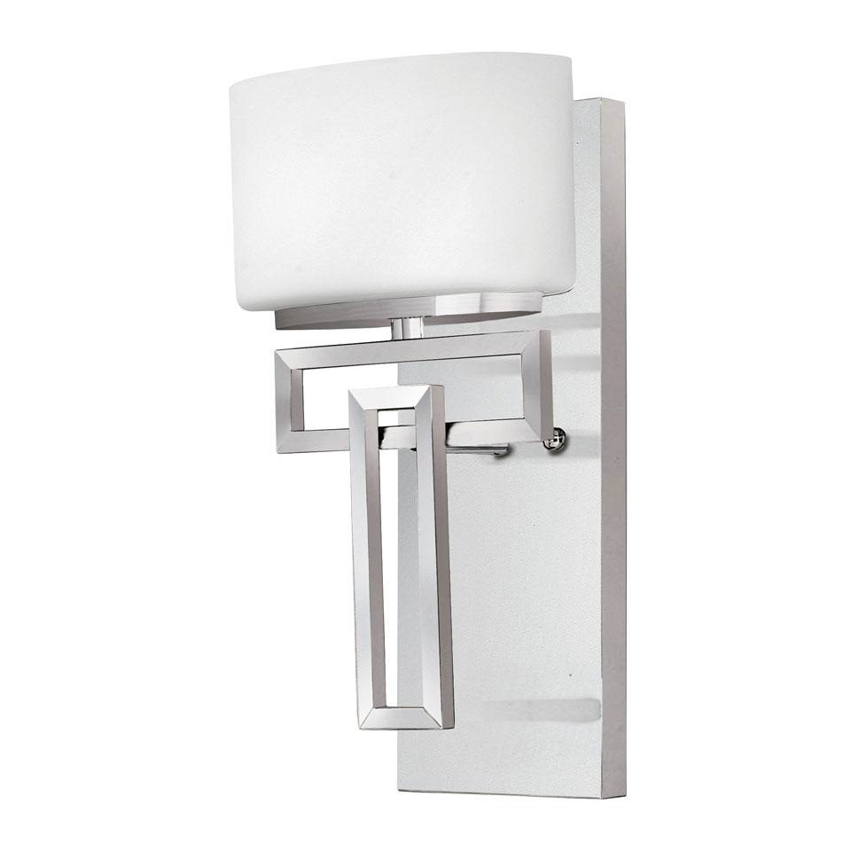 Applique Art Déco, sur support mural rectangulaire et verre blanc, IP44